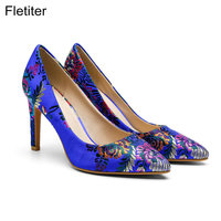 Fletite Top Quality Elegant Embroidery 8 Color Women Pumps Pointed Toe Thin High Heels 2018 New