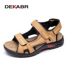 DEKABR Sandalias de cuero genuino para hombre, zapatos masculinos de cuero genuino, sandalias aire libre, de talla grande 46 47 48