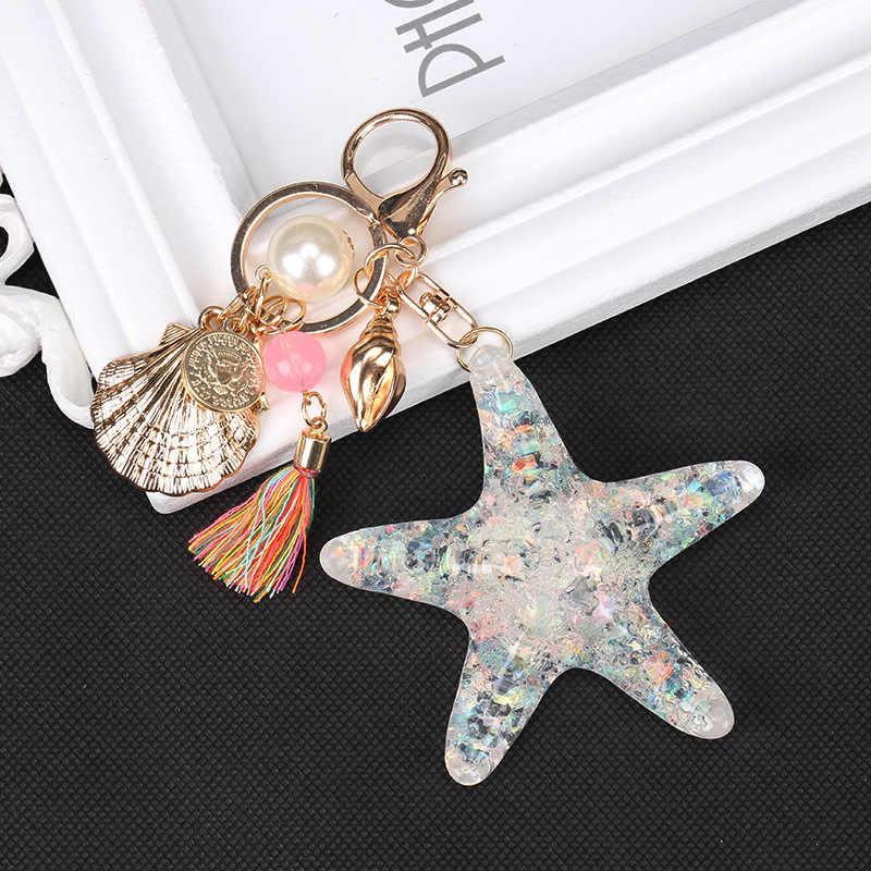 คุณภาพสูงการ์ตูนใหม่ Sea World ปลาดาว Pearl Shell Keychain พวงกุญแจโซ่พวงกุญแจจี้คริสตัลพวงกุญแจผู้หญิงของขวัญ