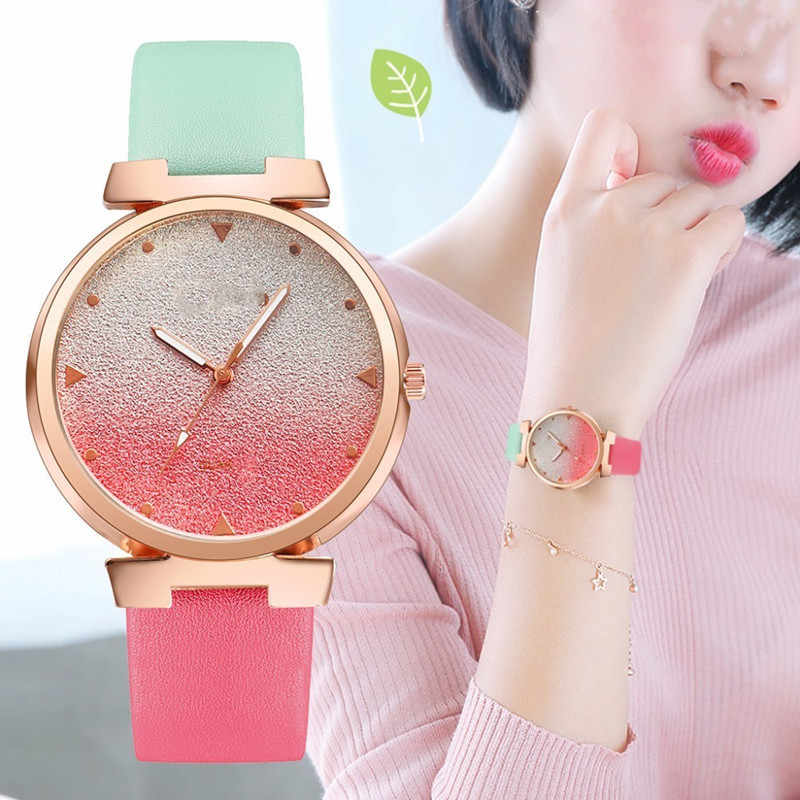 Ladies Watches Hot Sale Gradient Leather Wrist Watch Women Watches Ladies Quartz Clock Students Watch