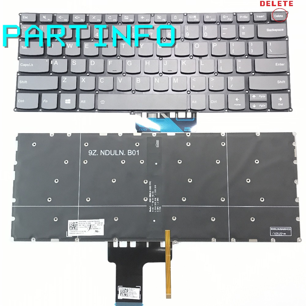 Laptop US Backlight keyboard for IDEAPAD 320S-13IKB 320S-13AAR 320S-13AST 320S-13ASK also type DELET key GRAY цена