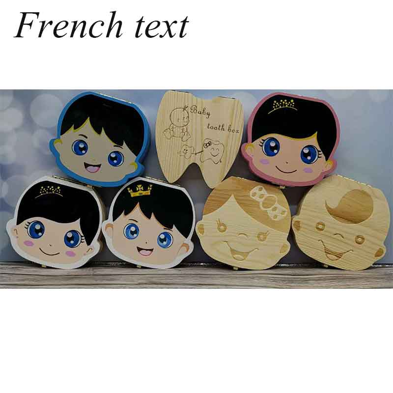 French/English Wooden Baby Tooth Box Organizer Milk Teeth Storage Umbilical Lanugo Save Collect Baby Souvenirs Gifts