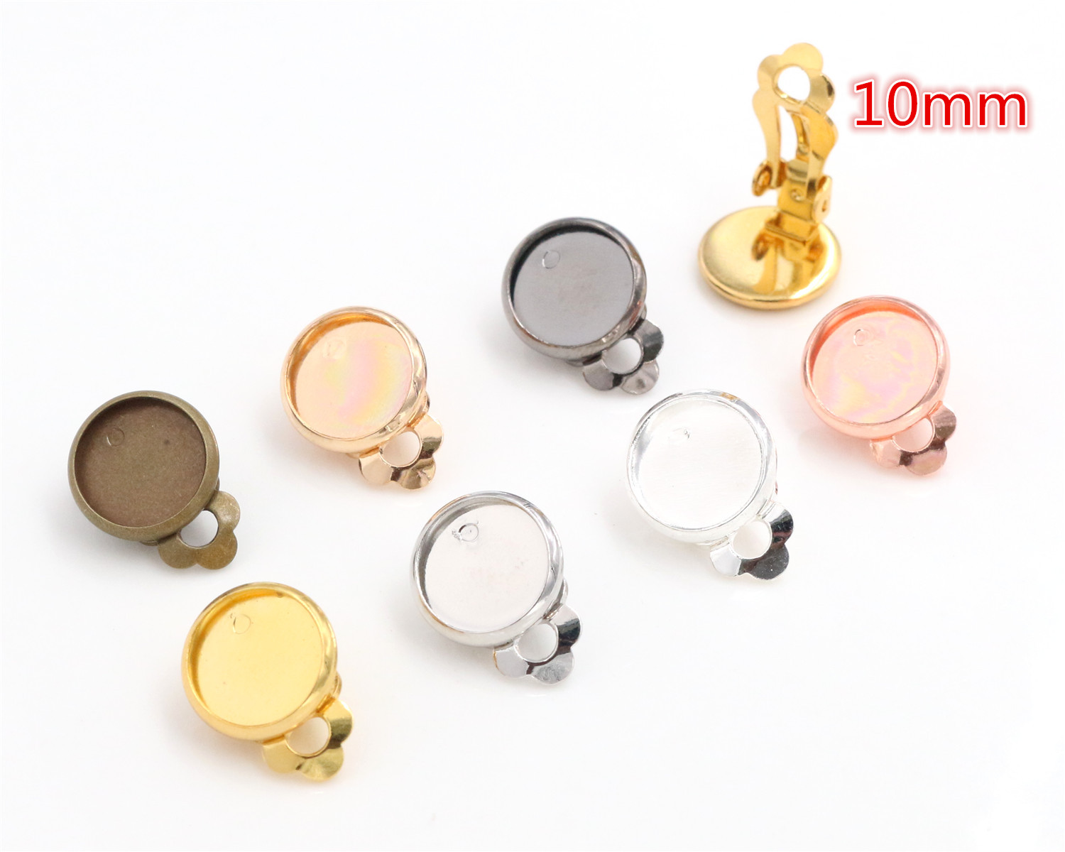 10mm 10pcs/lot Copper material Ear Clips 7 Colors Plated ,Earrings Blank/Base,Fit 10mm Glass Cabochons,earring setting