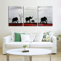 Handmade Art 100 Hand Painted Abstract Oil Painting Africa Elephants Family 3 Panels Abstract Wall Art