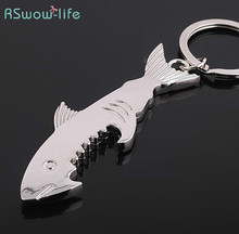 Creative Gift Metal Keychain Shark Beer Bottle Opener Wedding Favor For Summer Party Theme Bottle Opener