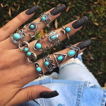 11pcs/Set Bohemia Antique Punk Animal Moon Green Stone Fashion Wedding Jewelry Silver Rings For Women Knuckle Finger Midi Ring