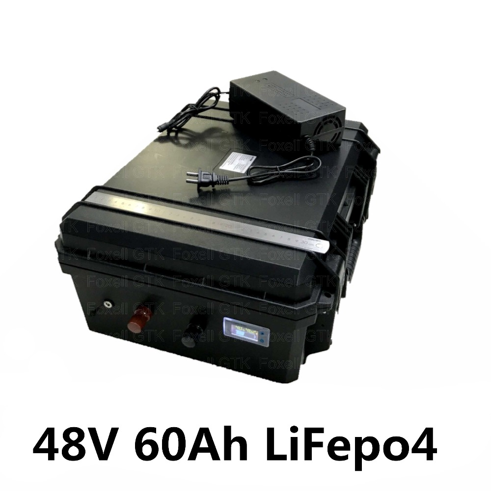 US $1250 0 |48V 60Ah LiFepo4 lithium battery pack for electric motorcycle  golf trolley golf cart solar energy system lawn mower+5A charger-in Battery