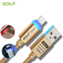 Original GOLF Auto-Disconnection LED iOS8/9 Phone Charger Wire For iPhone 5 5S SE 6 6S Plus iPad Air 2 Mini Quick Charge Cable