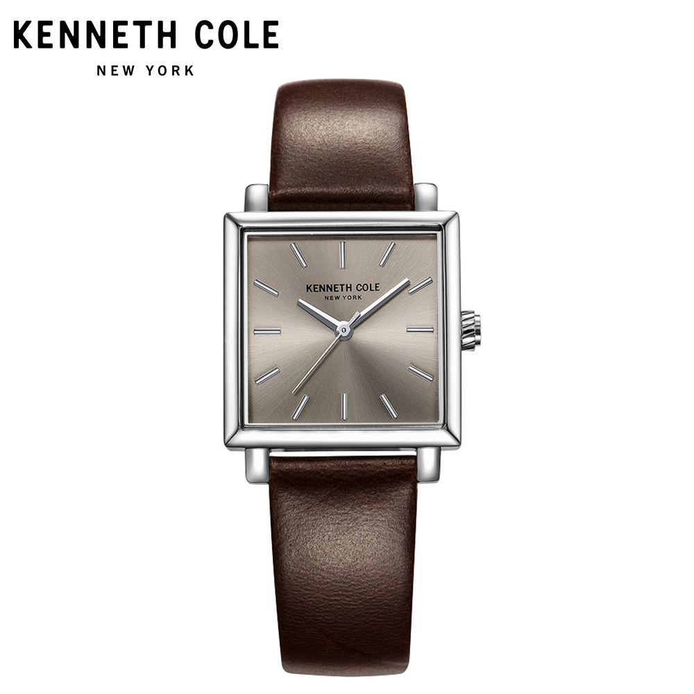 Kenneth Cole Originele dameshorloges Quartz Square bruin lederen gesp - Dameshorloges