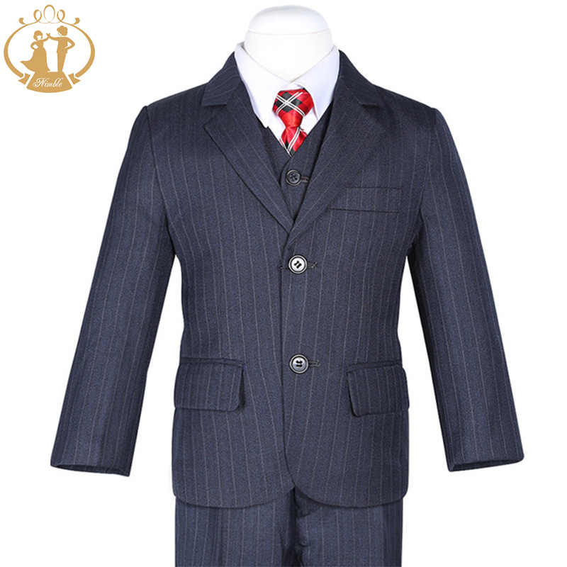 Nimble Deep Navy Blue Stripes Boys Suits for Weddings Formal Suits For School Birthday Party roupas
