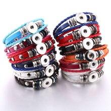 Atacado mix cor snap jóias artesanal trançado pulseira de couro snap pulseiras caber 18mm botão snap diy gengibre charme pulseira