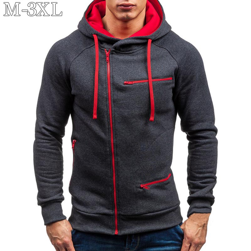 2020 Men Hoodie Sweatshirt New Casual Solid Long Sleeve Mens Hoodies Slim Zipper Hooded Cardigan Sweatshirts Men Hoody Sweat Homme