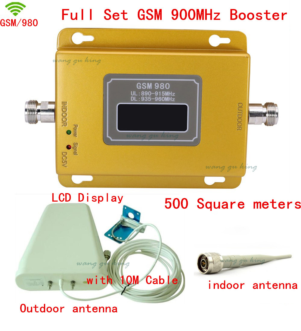 Full Set LCD Display 70dB 500square Meters GSM900Mhz Booster GSM 900 Mhz Cell Phone Mobile Signal Booster/Amplifier/repeater Kit