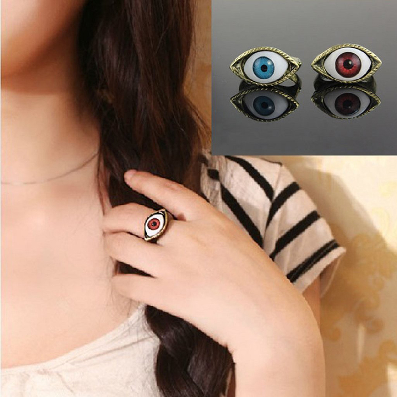 2018 Brown Blue Color Vintage 1PC Retro Punk Gothic Rings Exaggerated Vampire Eye Rings For Women Men