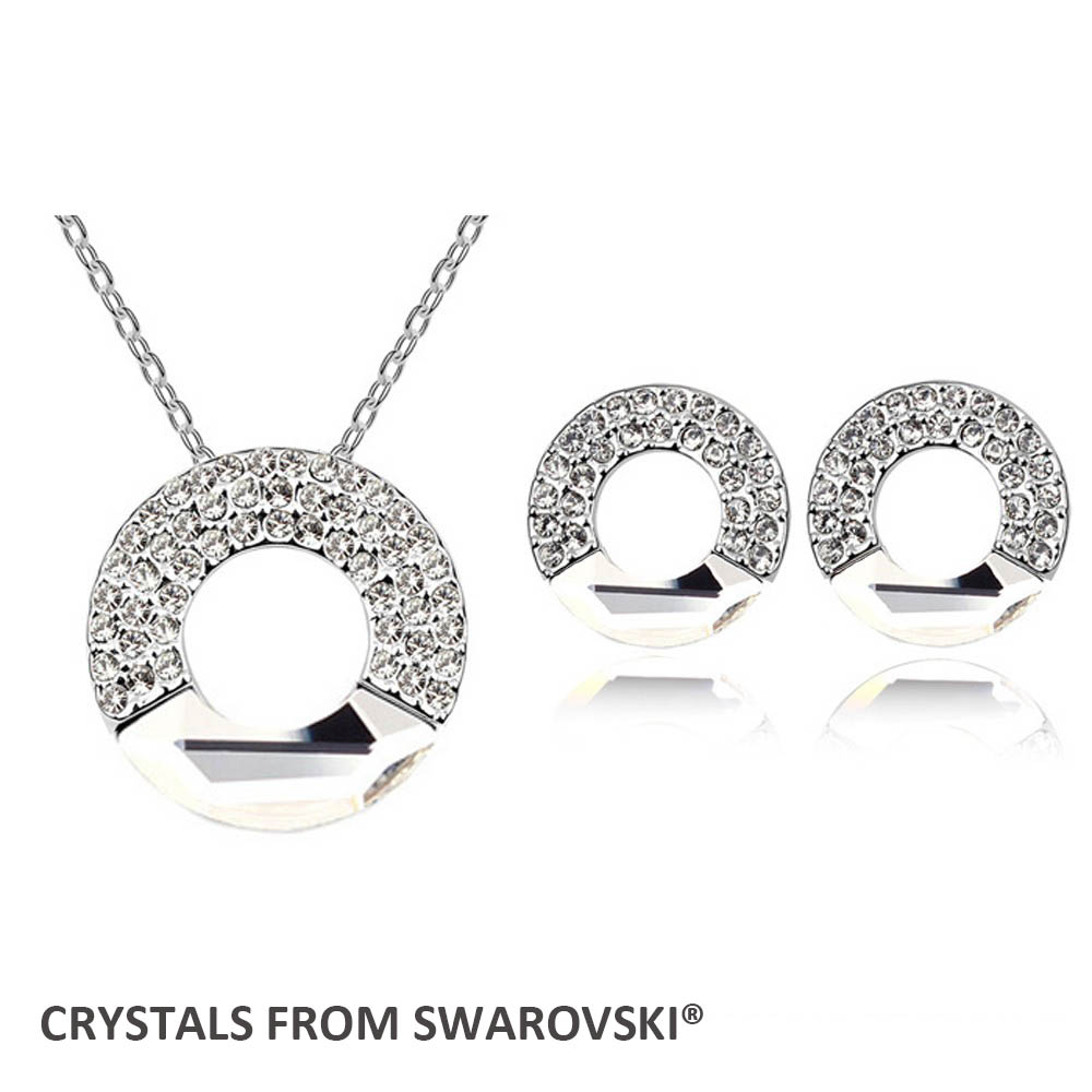 Hoop Circle Necklace Earrings Jewelry Set Crystals From Swarovski(china (