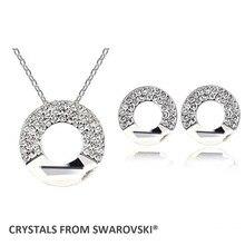 2016 regalo de navidad! collar joyería de los pendientes del aro del círculo Cristales de Swarovski