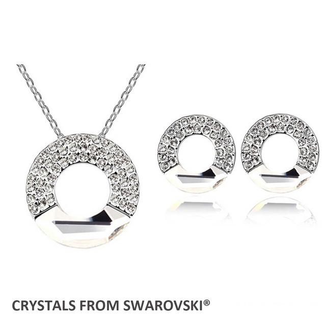 2016 presente de natal! Hoop círculo brincos colar conjunto de jóias Cristais de Swarovski