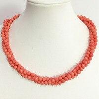 Piękny różowy pomarańczowy sztucznej rafy 6mm kule 3 wiersze naszyjnik piękne kobiety charms naszyjnik biżuteria 18 inch B1513