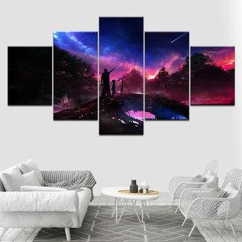 Arte de pared imágenes modulares lienzo impreso 5 piezas Meteor y inicio vista nocturna decoración del hogar carteles pintura para sala de estar marco
