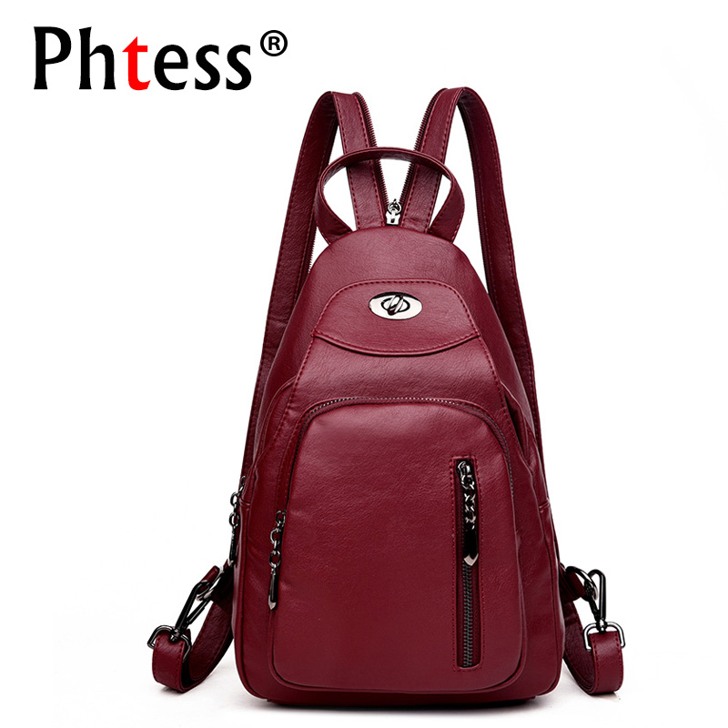 все цены на 2018 High Quality Soft Leather Backpacks Women Sac a Dos Vintage Rucksacks For Girls Mochilas Female Backpack School Bag Daypack