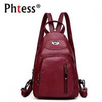2018 High Quality Soft Leather Backpacks Women Sac a Dos Vintage Rucksacks For Girls Mochilas Female Backpack School Bag Daypack