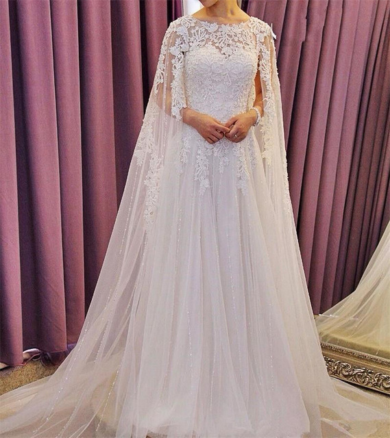 cae7fd5b059 2017 Luxury beaded and Crystal White Wedding dress Gorgeous With Cape  O-Neck A-Line Wedding Gowns Formal Dresses Robe de mariee