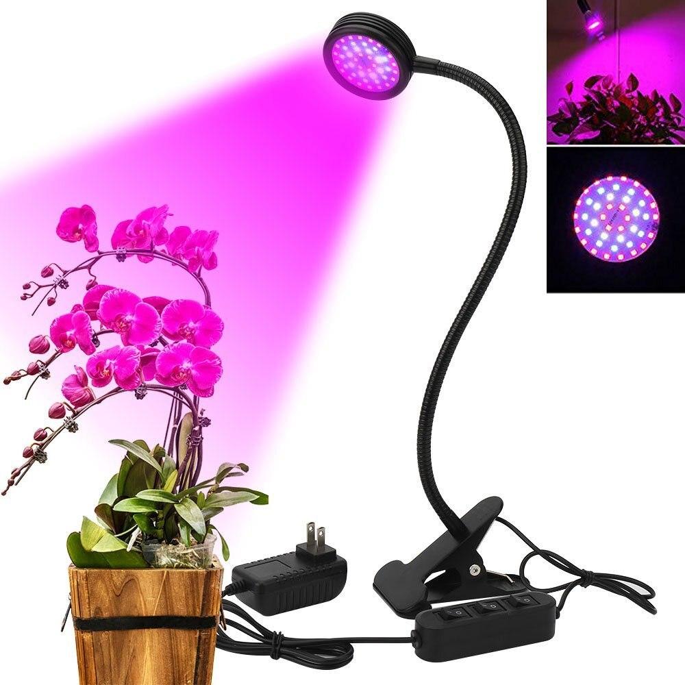 LED Grow Lights 20W 44 LEDs Adjustable Flexible 360 Degree Gooseneck Desk Clip Plant Lamp 3 Mode For Greenhouse Indoor Plants