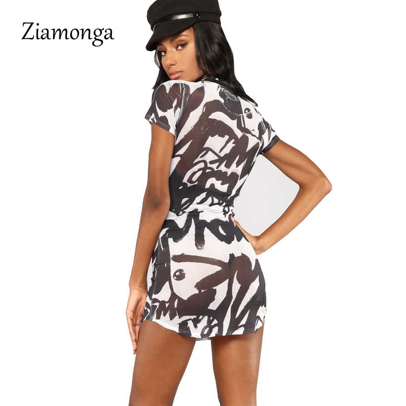 0763048bf701a ... Ziamonga Summer Dress 2018 new Black Print Casual Sundress Woman Mini  Short Sleeve T Shirt Dress