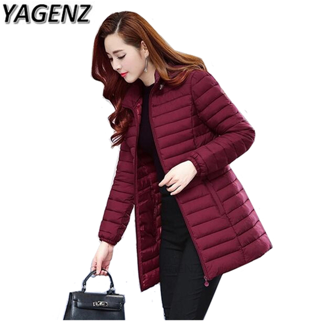 27b12c81e00 YAGENZ Winter Women Jacket Hooded Coat 2018 New Korean Thick Cotton Down Long  Coat Large size Women Slim Warm Female Coat 5XL6XL