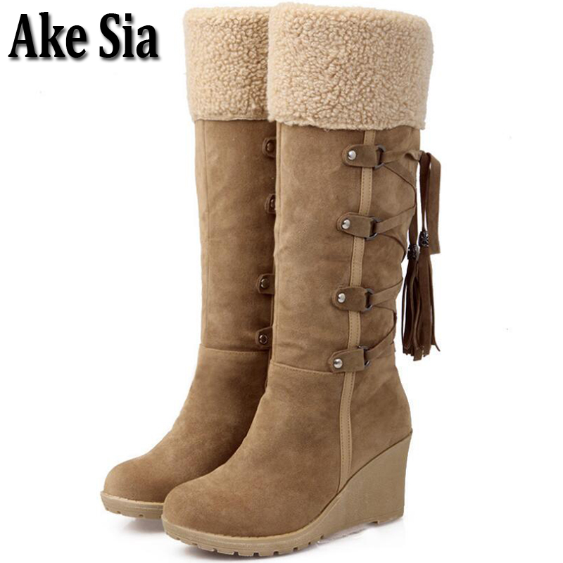 Ake Sia Fad Occident Style Casual Womens Trendy Tassels Winter Knee High Long Bottine Jackboots High Wedge Botas Shoes Boot F361 bamboo womens driven 77 casual wedge