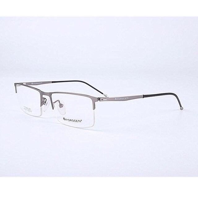 3f4487823c Pure Titanium Spring Hinges Eyeglass Frames Gunmetal Half Rimless Glasses  Rx able
