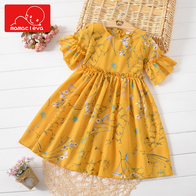 MAMACLEVA New Cute Girls Chiffon Clothes Summer Princess Dress Fashion Flare Sleeve Childrens Fairy Dresses for 3-14 years old