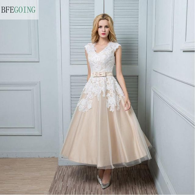 A line Wedding Dress Champagne Ankle length V neck Lace / Satin ...