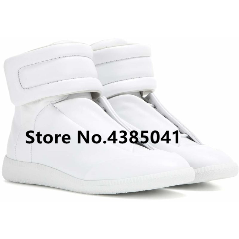 Mens Flat High Top Casual Shoes Genuine Leather Trainers Zapatos Hombre Hook Loop Sneakers Muti Colors