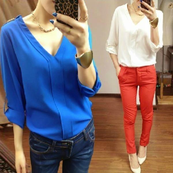 Tops Primavera Mujeres Señora white Sólido blue Black Camisa Sexy Blouse Blouse V Gasa 2017 Blusas De cuello Otoño Camisas Nueva Blouse Remaches Moda Hombro Verano vzwvdtgx