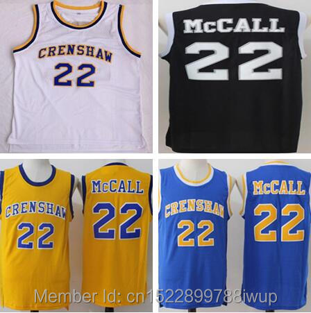 f6b435e6b74d Quincy McCall  22 Jersey Movie Basketball Crenshaw Jerseys High School White  Basketball Jersey for Men Free Shipping