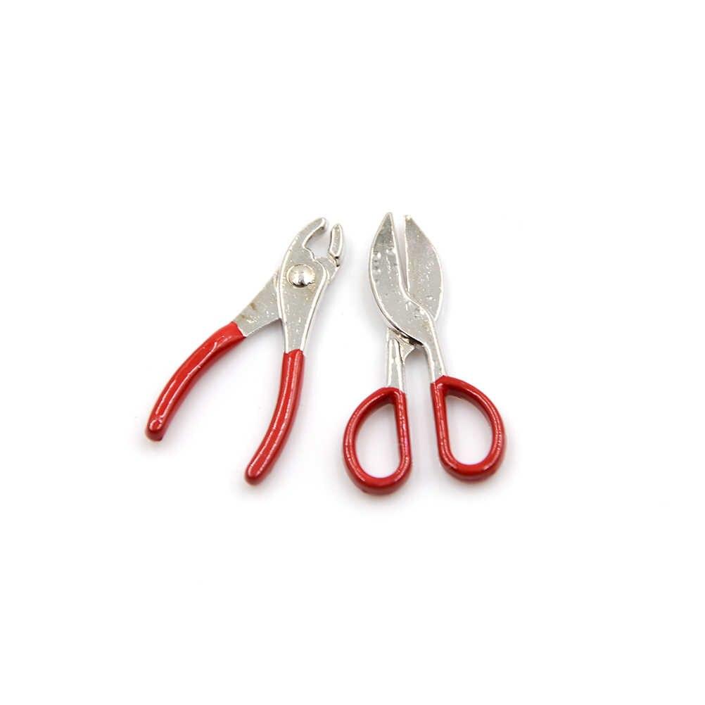 8 шт. 1:12 набор металлических ручных инструментов 1 ножницы/гаечный ключ/суппорт/отвертка/плоскогубцы/пила 2 молотка 1/12 кукольные домики Миниатюрные