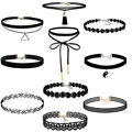 Hearts Q Jewelry 10Pcs/Set Womens Black Velvet Choker Necklace For Girls Lace Choker Tattoo Necklace