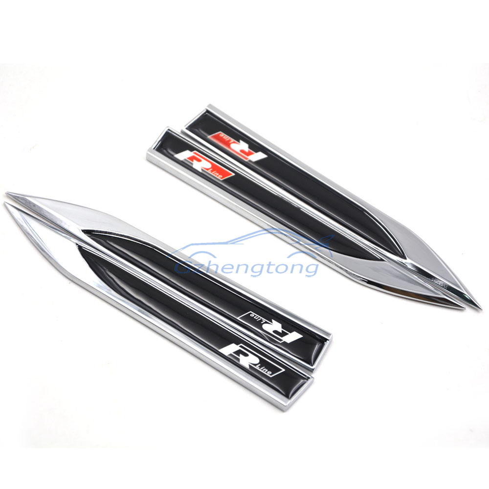 2pcs/set Gule Design Black Color R-line Car Side 3D Logo Fender Skirts Knife Sticker Badge Auto Emblems For VW Golf GTI R line waterproof rubber hk right hand steering wheel car floor mats for volkswagengolf 5 6 scirocco with gti tsi r r golf logo