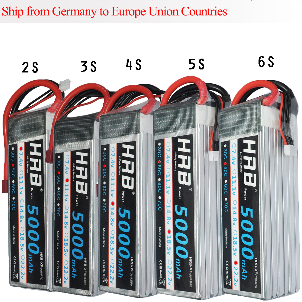 HRB RC Lipo Battery 2S 3S 4S 5S 6S 7.4V 11.1V 14.8V 18.5V 22.2V 5000mAh 50C 100C for FPV 450 500 AKKU Drone yowoo fpv 450 500 akku lipo battery 2s 3s 7 4v 11 1v 5000mah 50c max 100c for traxxas helicopter fpv 450 airplane quadcopter car