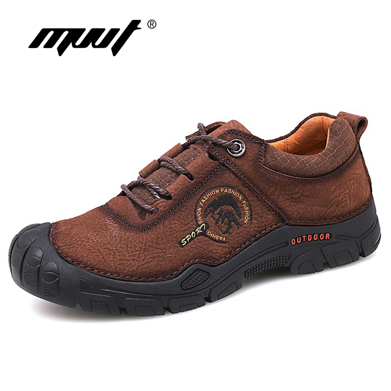 2019 Spring Men Casual Shoes Genuine Leather Men Shoes Lace Up Quality Nubuck Leather Outdoor Shoes