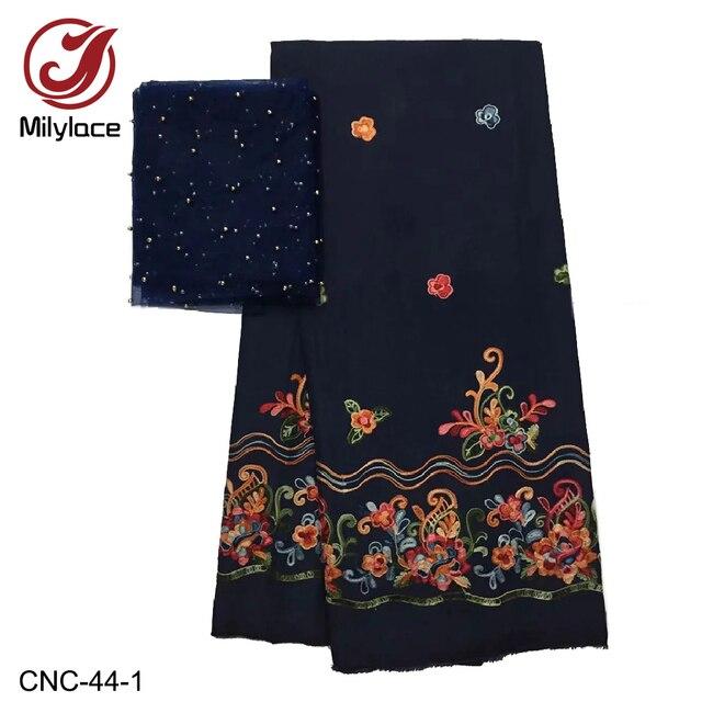 Milylace tinh tế thêu ren bông vải 5 bãi + Pháp tulle vải ren với hạt cho hàng ngày quần áo bên CNC-44