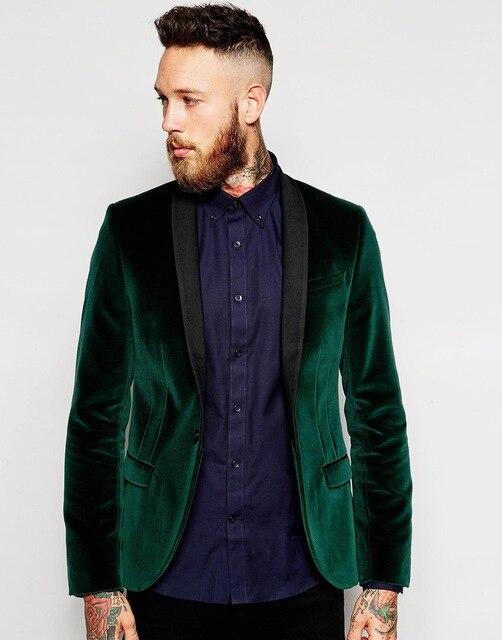 Groomsmen Shawl Black Lapel Groom Tuxedos Velvet Green Jacket Men Suits Wedding Party Best Man Wear Suits (Jacket+Pants+Tie)