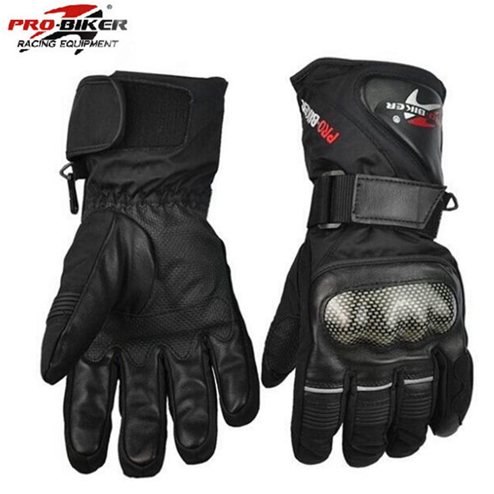 Buy leather bike gloves - Pro Biker Guantes Motorcycle Gloves Waterproof Leather Gloves Motorcycle Winter Warm Full Finger Motocross Motorbike Moto