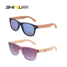 278e5422664 2 PCS Wooden Sunglasses Women Men PC Front Bamboo Arms Sun Glasses HD UV400  Protection Outdoor