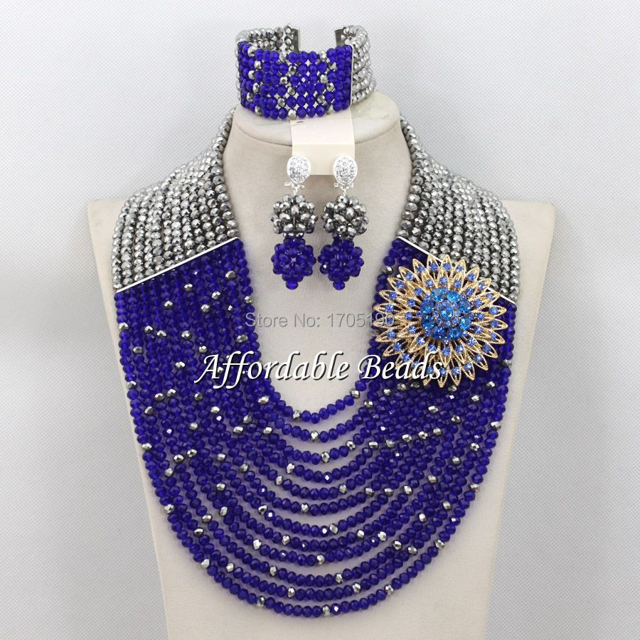 Gray&Royal Blue African Beaded Jewelry Nice Costume African Jewelry Sets Wholesale ABW080