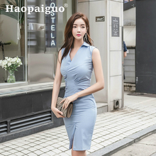 Plus Size Blue OL Work Office Dress Women Sleeveless Sheath Bodycon Wrap Midi Ladies Summer 2019 Vestidos De Verano Robe