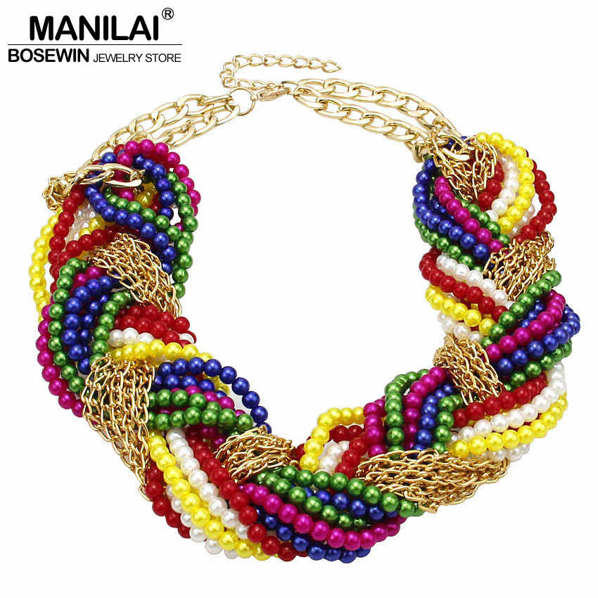 MANILAI Multi layer Simulated Pearl Statement Chokers Necklaces For Women Handmade Woven Chain Multicolor Beaded Chunky Necklace