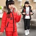 Inverno russo! novo 2016 crianças do inverno do bebê menino meninas macacão conjunto de roupas jaqueta de pato branco para baixo casacos, roupas para crianças