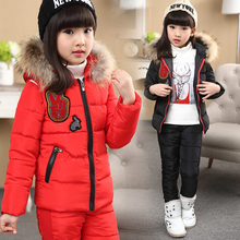 Russian winter ! new 2016 baby boy winter children girls white duck down coats overalls clothing set jacket, children's clothing